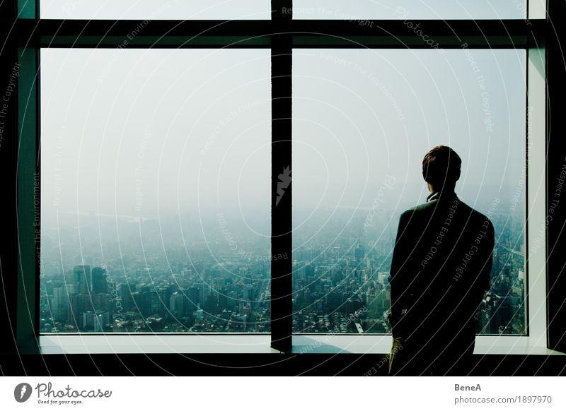 Overlooking a mega city Mensch Ferien & Urlaub & Reisen Mann Stadt Einsamkeit Wolken Fenster Architektur Business Aussicht stehen groß einzeln Unendlichkeit