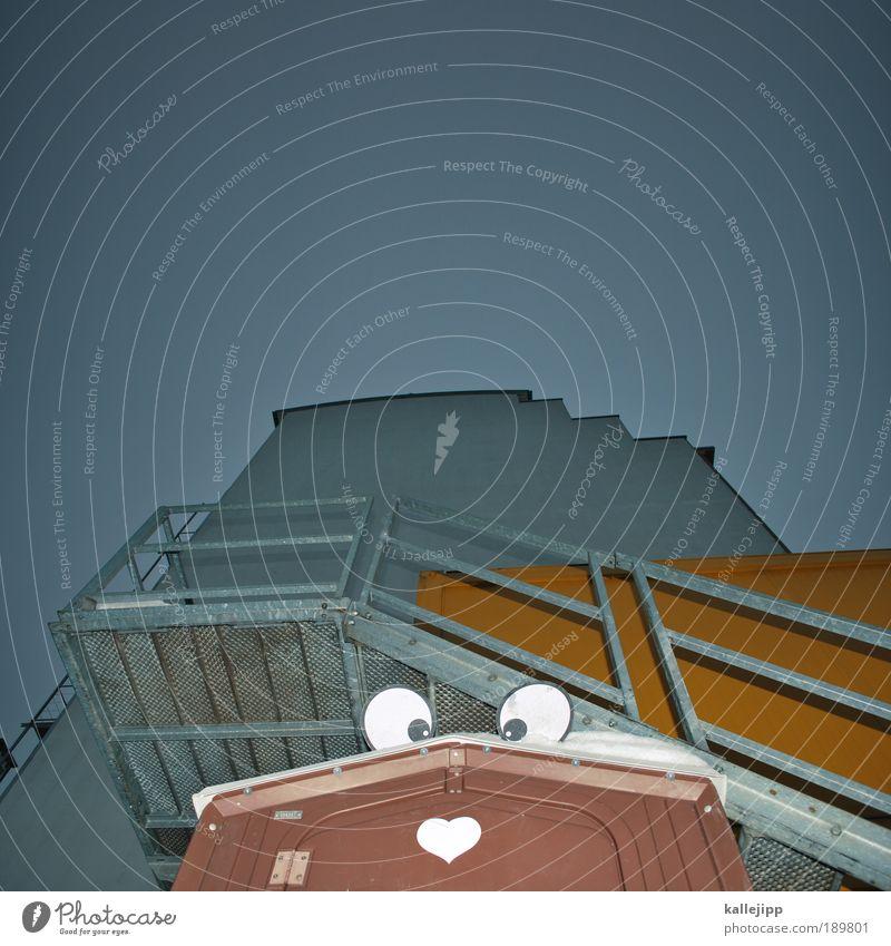 flotter otto Mensch Auge 1 Haus Hütte Treppe Fassade Zeichen Hinweisschild Warnschild Herz Blick Angst Entsetzen Todesangst Platzangst Stress Nervosität