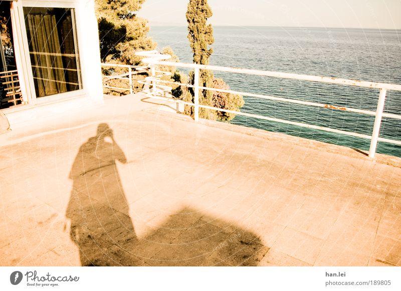 Sommerurlaub Mann Baum Ferien & Urlaub & Reisen Meer Erwachsene Ferne Erholung Fenster Horizont stehen 18-30 Jahre Geländer Balkon Schönes Wetter Aussicht
