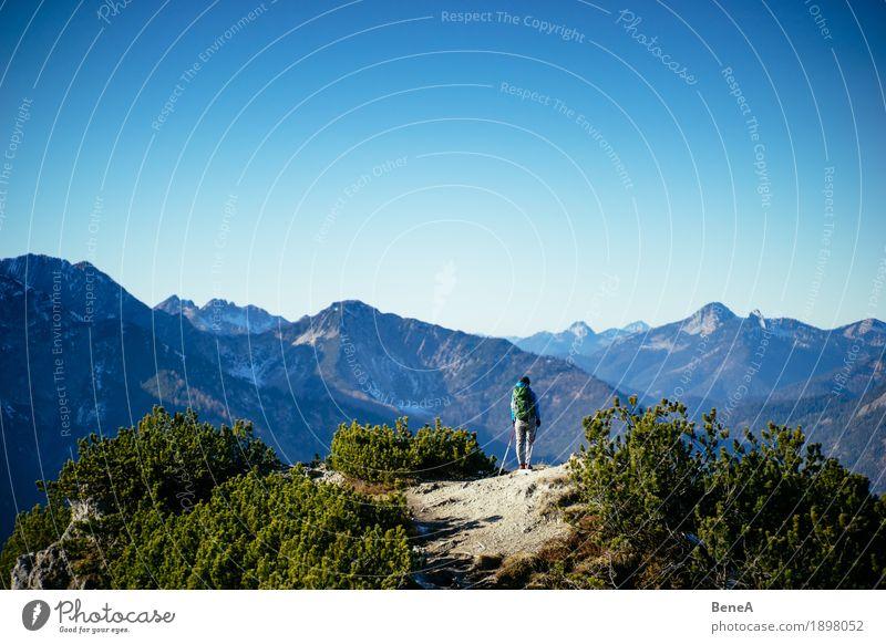 Hiking Bavarian mountains Mensch Natur entdecken Erholung Freizeit & Hobby Freude Horizont Wege & Pfade alpin Österreich Deutschland Aktion Alpen Bayern blau