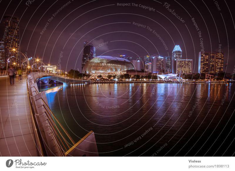 Spaziergang Hauptstadt Skyline Hochhaus Turm Bauwerk Gebäude Architektur Sehenswürdigkeit entdecken glänzend Beleuchtung leuchten Lampe Kitsch schwarz Singapore