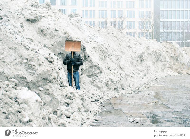 white trash Mensch Mann Winter Erwachsene Landschaft Umwelt Schnee Eis Arbeit & Erwerbstätigkeit Wetter Klima Nebel maskulin Erfolg Frost Baustelle