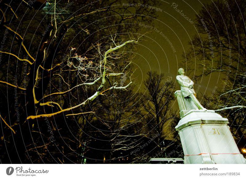 Denkmal Baum Winter Wald kalt Schnee Berlin Park Ast Denkmal Krieg Soldat Nacht Dezember Militär Sockel Tiergarten
