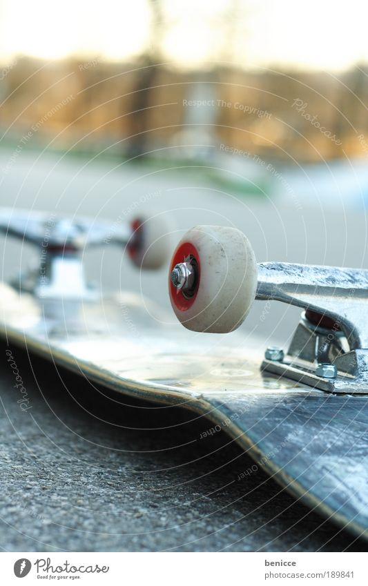 Skate Skateboarding Straße Freizeit & Hobby Unfall Coolness Rad Asphalt Menschenleer Dinge Sport liegen