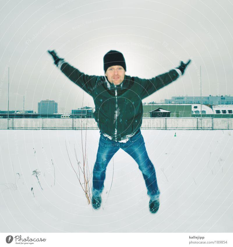 schwalbe Lifestyle Freizeit & Hobby Haus Mensch Mann Erwachsene Leben 1 30-45 Jahre Umwelt Winter Klima Eis Frost Schnee Stadt Vogel fliegen Blick springen