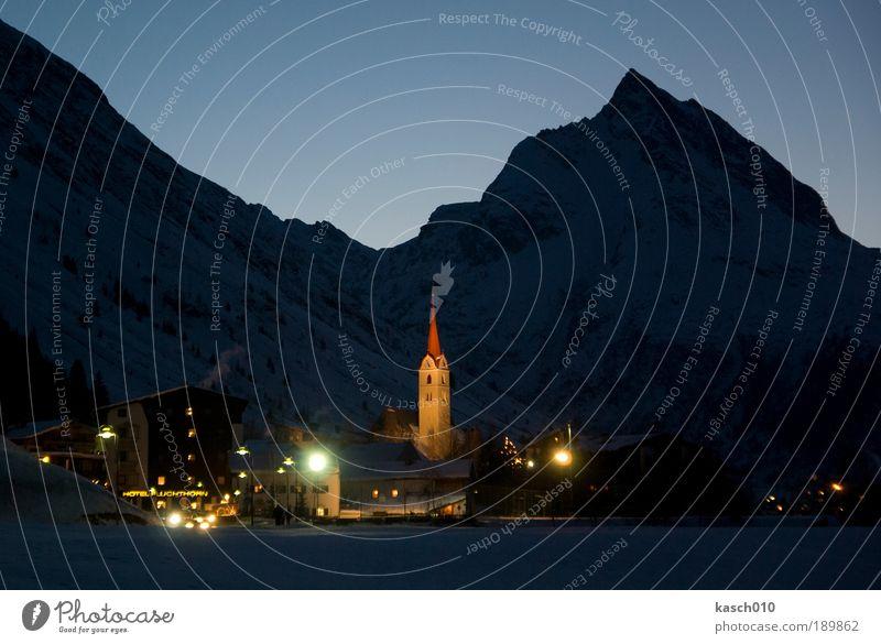 Galtür bei Nacht Natur Ferien & Urlaub & Reisen ruhig kalt Erholung träumen Zufriedenheit Architektur Sicherheit Kirche Tourismus Romantik Freizeit & Hobby