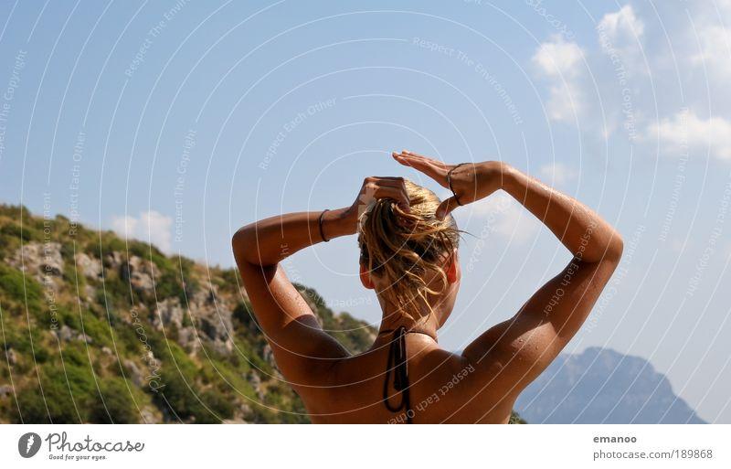 urlaubshaare Mensch Jugendliche Ferien & Urlaub & Reisen schön Sonne Sommer Meer Strand Erwachsene Ferne feminin Freiheit Küste Haare & Frisuren Kopf Junge Frau