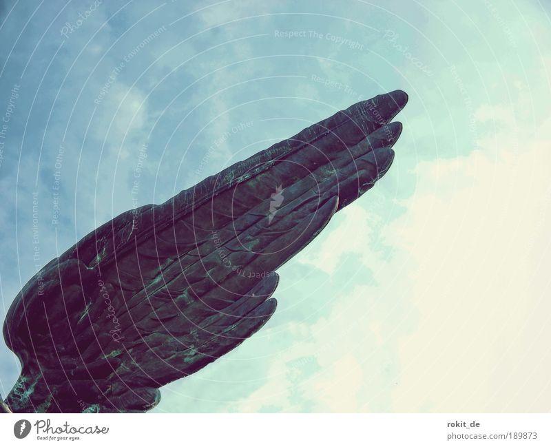 Geflügel blau Freiheit Kraft ästhetisch Flügel Engel retro Feder Unendlichkeit Denkmal Statue Skulptur Stolz Tatkraft eitel Bronze
