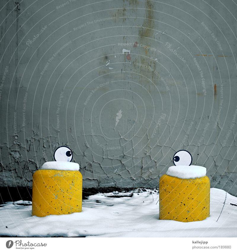 snow is in your eyes Mensch Freude Winter Gesicht Auge gelb kalt Leben Graffiti lachen Mauer Kunst lustig Schilder & Markierungen Kultur außergewöhnlich