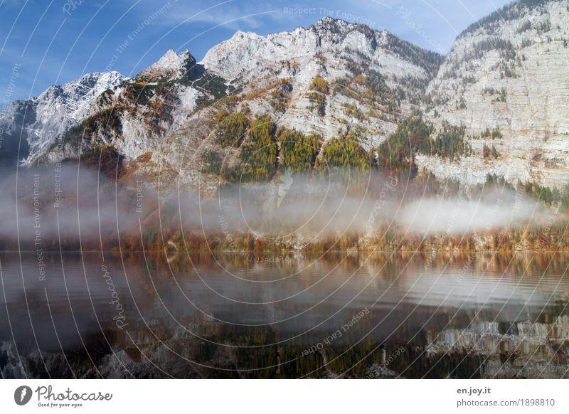 Bergwelt Ferien & Urlaub & Reisen Ausflug Berge u. Gebirge Natur Landschaft Himmel Herbst Nebel Felsen Gipfel Seeufer Königssee ruhig Fernweh bizarr