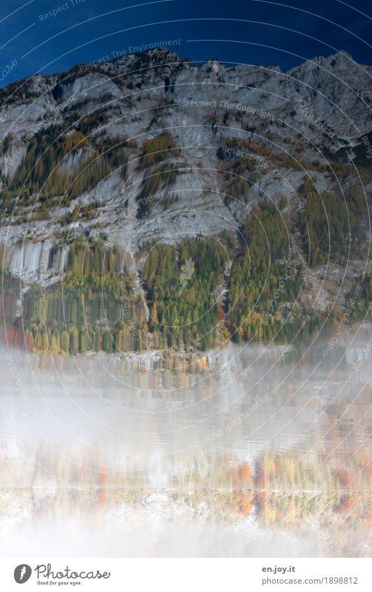 Orientierung   slos Natur Landschaft Urelemente Wasser Wolkenloser Himmel Herbst Nebel Wald Felsen Alpen Berge u. Gebirge Berchtesgadener Alpen Seeufer