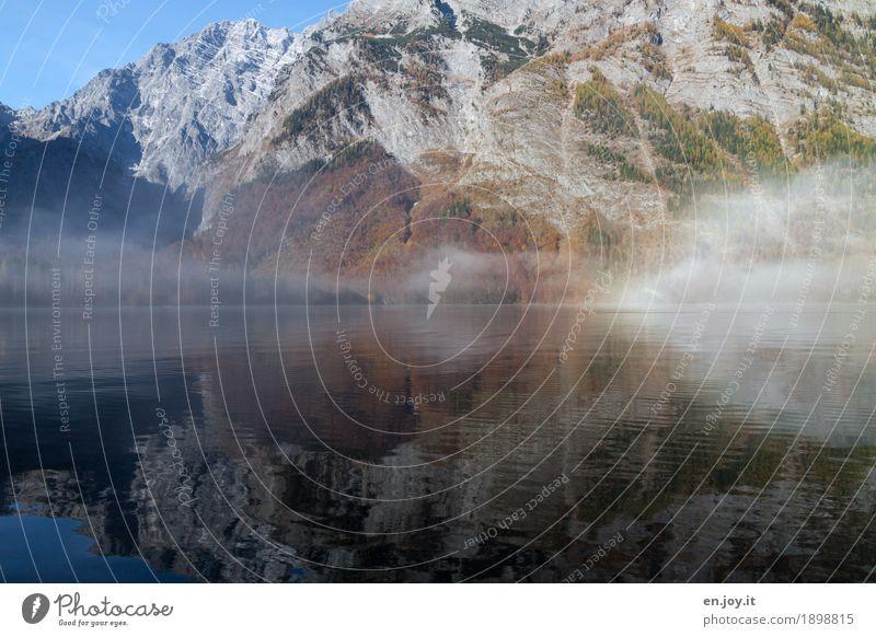 Herrrbscht Ferien & Urlaub & Reisen Natur Landschaft Herbst Nebel Felsen Alpen Berge u. Gebirge Berchtesgadener Alpen Bayern Oberbayern Watzmann Seeufer