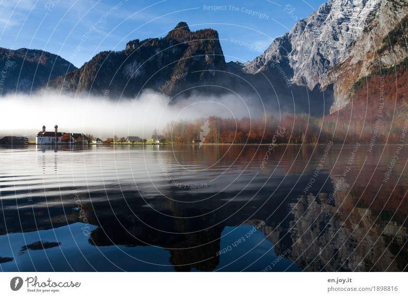 Näherkommen Ferien & Urlaub & Reisen Tourismus Ausflug Berge u. Gebirge Natur Landschaft Himmel Herbst Nebel Felsen Alpen Watzmann Berchtesgadener Alpen Seeufer