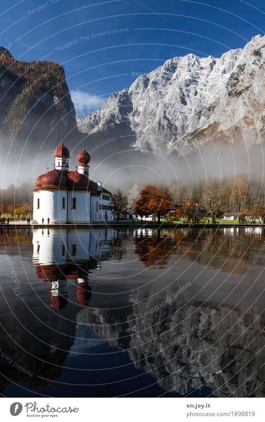 morgens halb zehn in Deutschland Ferien & Urlaub & Reisen Tourismus Ausflug Sightseeing Berge u. Gebirge Natur Landschaft Himmel Herbst Nebel Park Alpen
