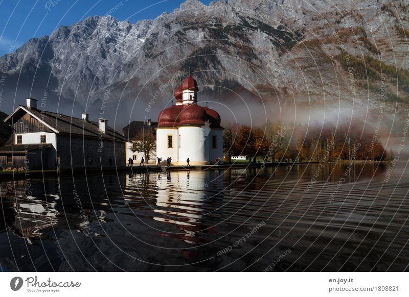 Ankommen Ferien & Urlaub & Reisen Tourismus Ausflug Berge u. Gebirge Herbst Nebel Park Felsen Alpen Berchtesgadener Alpen Watzmann Wellen Seeufer Königssee