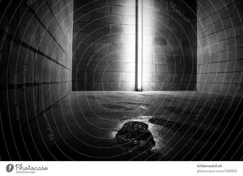 Footprint Fuß Ausstellung Museum stehen Traurigkeit kalt eng Angst Fußspur Silhouette Neonlicht Schwarzweißfoto Innenaufnahme Textfreiraum rechts Dämmerung