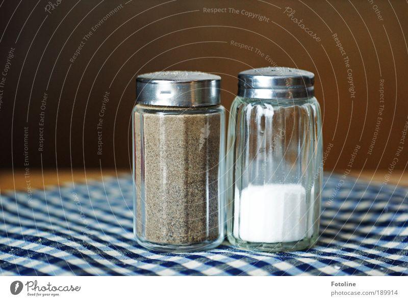 Pfeffer und Salz blau weiß Ernährung Lebensmittel braun Abendessen Festessen Mittagessen Büffet Kochsalz Brunch salzig Pfefferstrauch Geschäftsessen Salzstreuer Pfefferstreuer