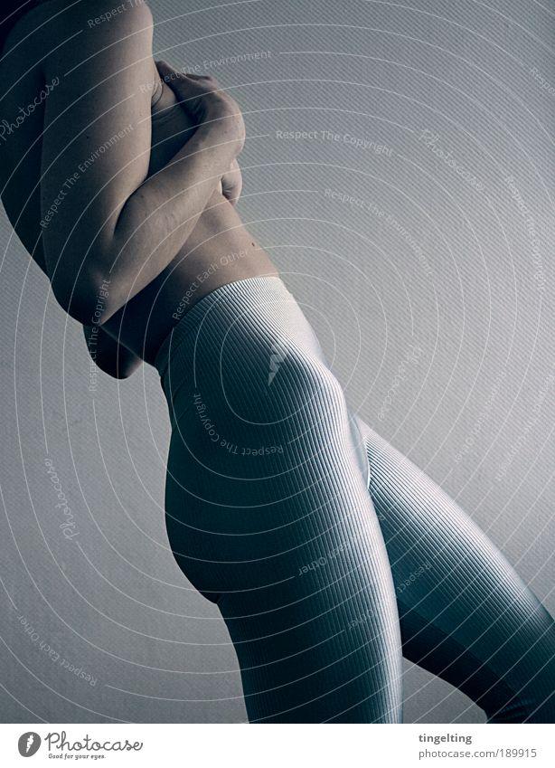 stripy silver II blau schwarz kalt feminin Beine Körper Rücken glänzend Arme Haut authentisch Coolness Gesäß Fitness Mensch Hose