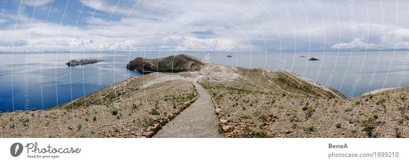 Lake Titicaca and Isla del Sol Ferien & Urlaub & Reisen Natur Mauer Wand Einsamkeit exotisch Umwelt Wege & Pfade Bucht Bolivien ruhig Wolken Dürre Hügel Idylle