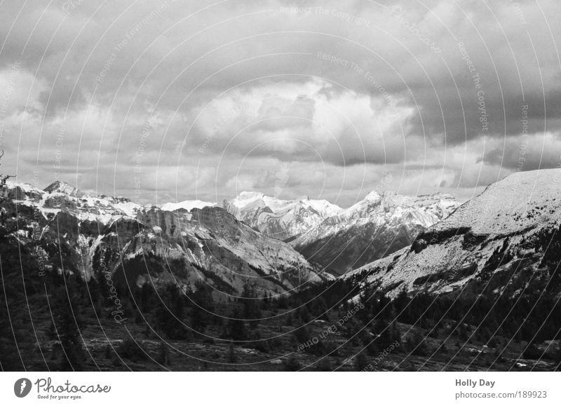 Die Kanadischen Rockies Umwelt Natur Landschaft Himmel Wolken Herbst schlechtes Wetter Unwetter Baum Berge u. Gebirge Gipfel Schneebedeckte Gipfel
