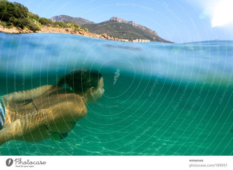 diving sardinia Natur Jugendliche Wasser Ferien & Urlaub & Reisen Meer Sommer Strand Erwachsene feminin Sport Freiheit Wellen Rücken Schwimmen & Baden Insel