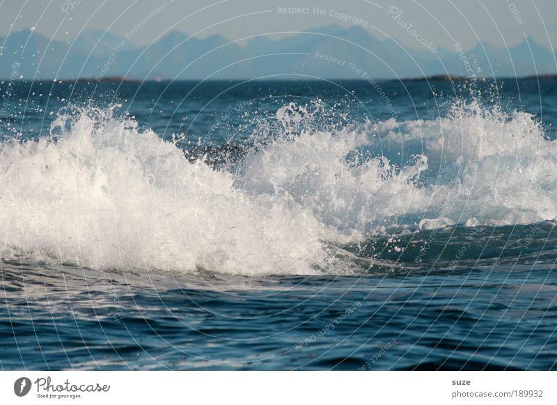 Brand new day Natur Wasser weiß blau Strand Ferien & Urlaub & Reisen Meer Berge u. Gebirge träumen Küste Wellen Angst Wind Hintergrundbild wild Krankheit