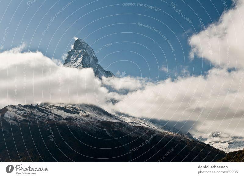 habe da auch noch ein Matterhornbild !! Ferien & Urlaub & Reisen Berge u. Gebirge Ausflug Tourismus Klima Alpen Schweiz Gipfel Schönes Wetter Schneebedeckte Gipfel Matterhorn
