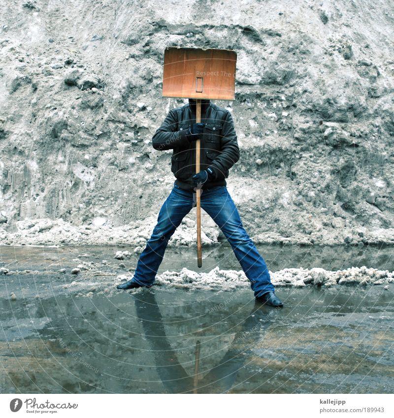 arbeit Mann Winter Erwachsene kalt Schnee Umwelt Wetter Arbeit & Erwerbstätigkeit Eis Kraft maskulin Erfolg Klima Frost Baustelle Alpen