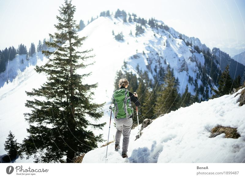 Frau wandert durch verschneite Berglandschaft des Hochries Erholung Ferien & Urlaub & Reisen Winter Sport Erwachsene Natur Fitness Bewegung entdecken Erfahrung