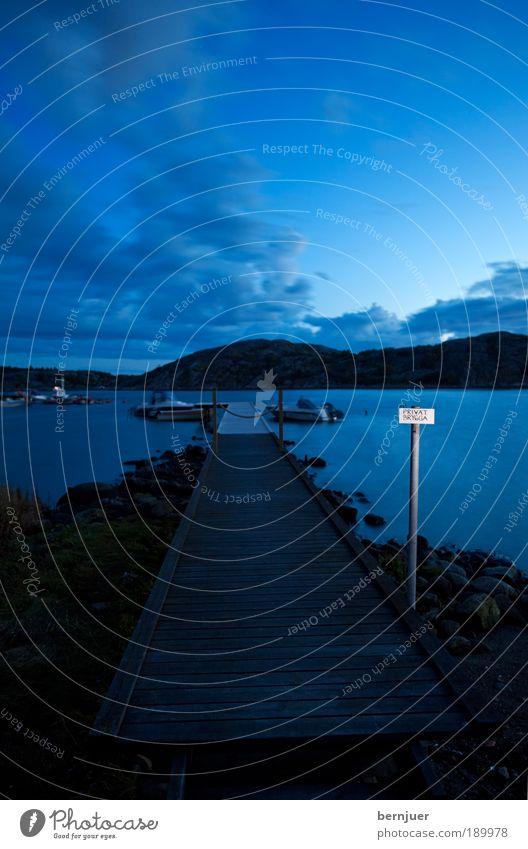 privat brygga Wasser Himmel Meer blau ruhig Wolken Holz Landschaft Küste Wellen Horizont See Wege & Pfade Idylle Steg Seeufer