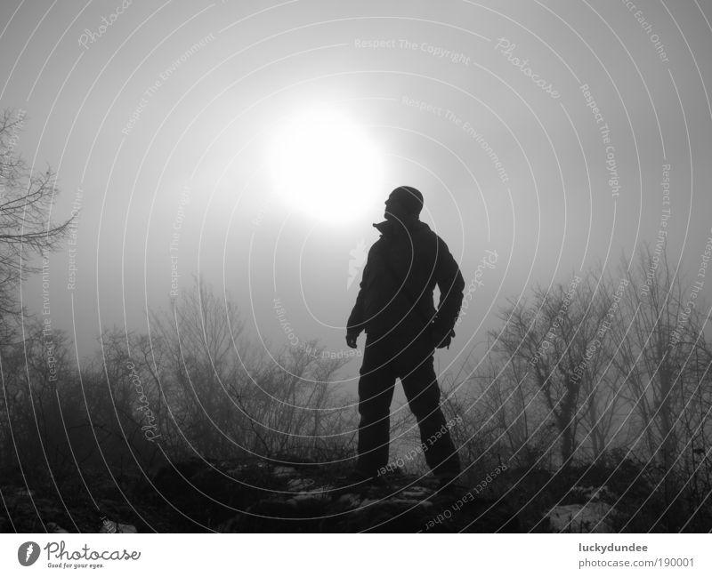Nebel und Sonne Natur Baum Winter Landschaft Kraft Jeanshose Sträucher Jacke Mütze Wanderschuhe