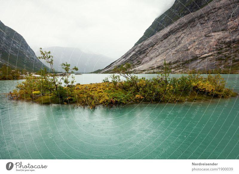 Regen Natur Pflanze Wasser Landschaft Einsamkeit Wolken Ferne dunkel Berge u. Gebirge Umwelt Gras See Felsen Wetter Nebel