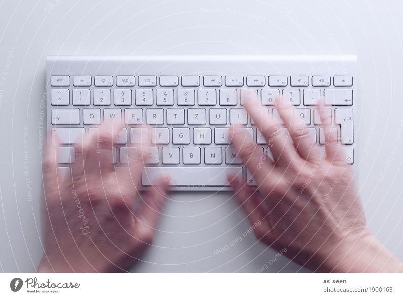 Busy Hand Bewegung Büro Kommunizieren Technik & Technologie Telekommunikation Geschwindigkeit Computer Finger berühren schreiben Bildung Internet Medien Informationstechnologie Werbebranche