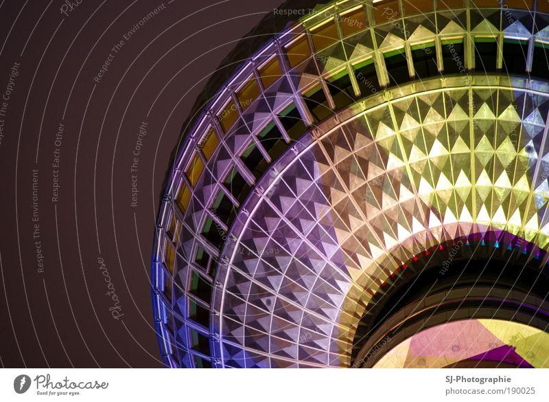 Festival of Lights - Berliner Fernsehturm blau rot Ferien & Urlaub & Reisen gelb Architektur Glück Gebäude Deutschland gold rosa Fröhlichkeit Tourismus Coolness