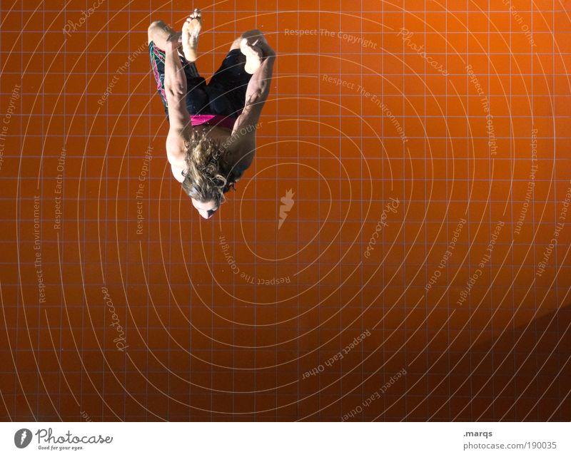 Flugstunde Jugendliche Freude Sport Leben springen Stil Bewegung orange Körper Erwachsene maskulin fliegen Lifestyle ästhetisch Coolness