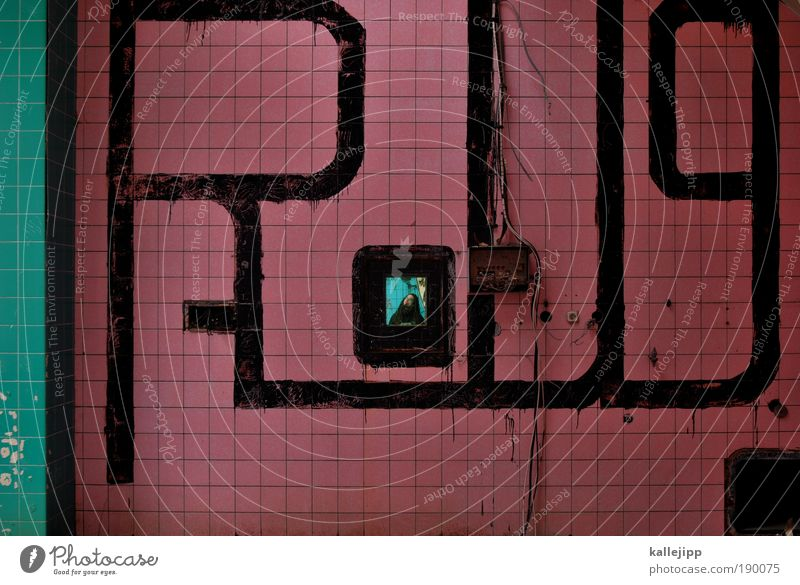 kachelmann Mann Erwachsene Leben Wand Textfreiraum links Graffiti Mauer Raum maskulin Kultur Bild Bad 18-30 Jahre Fliesen u. Kacheln Quadrat skurril