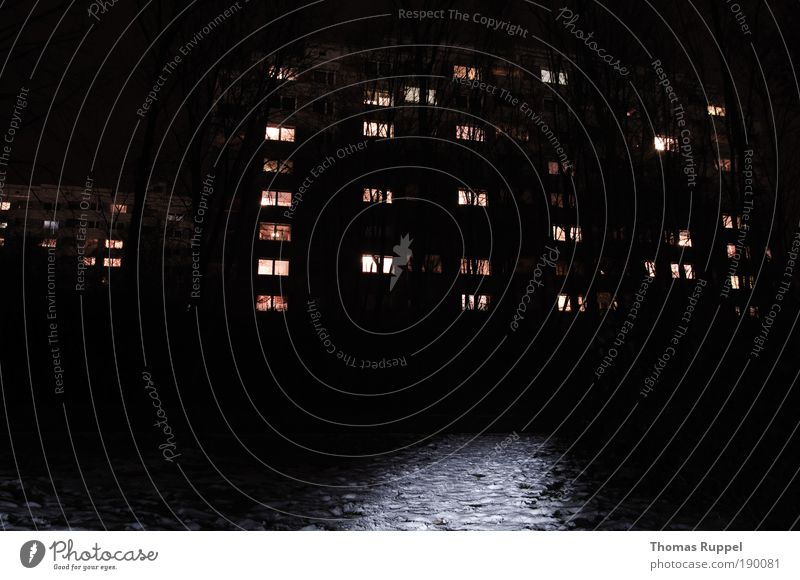 Dunkel(weg) Nachthimmel Pflanze Baum Deutschland Europa Kleinstadt Stadt Stadtrand Skyline Menschenleer Haus Hochhaus Wege & Pfade dunkel trist Angst Einsamkeit