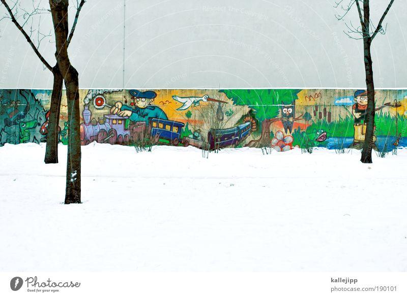 ein bisschen farbe Mensch Natur Baum Pflanze Freude Tier Wiese Spielen Garten See Landschaft Linie Graffiti Vogel maskulin Umwelt