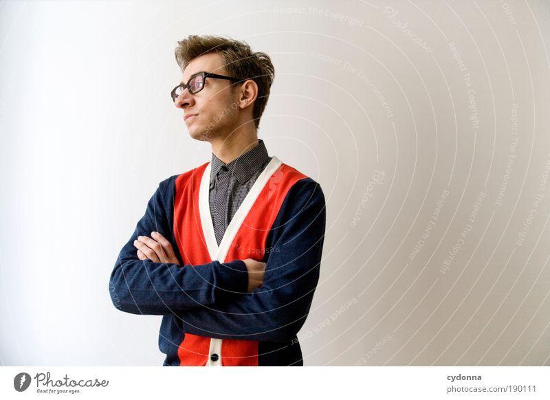 Erstmal abwarten Mensch Mann Jugendliche schön Erwachsene Erholung Leben Stil träumen Zufriedenheit elegant Design ästhetisch Erfolg Studium Perspektive