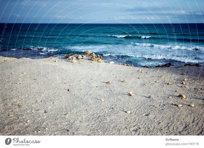 117 [weit] Ferien & Urlaub & Reisen Strand Meer Wellen Natur Landschaft Horizont Sommer Küste Menschenleer Sand Wasser blau weiß Reinheit träumen Sehnsucht
