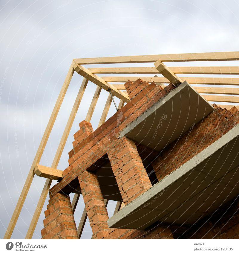 Rohbau Haus Wand Material oben Stein Mauer Fassade Beton Beruf Erfolg groß modern planen Perspektive authentisch Baustelle