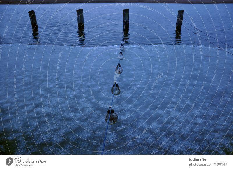 Silvestermorgen Wasser blau Winter ruhig Einsamkeit kalt See Landschaft Eis Küste Umwelt Seil Klima Hafen 4 5
