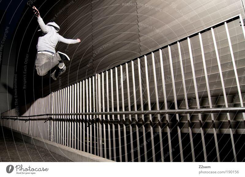 human room installation Mensch Jugendliche Erwachsene dunkel Architektur Bewegung springen Stein Stil Metall Kraft fliegen maskulin ästhetisch verrückt