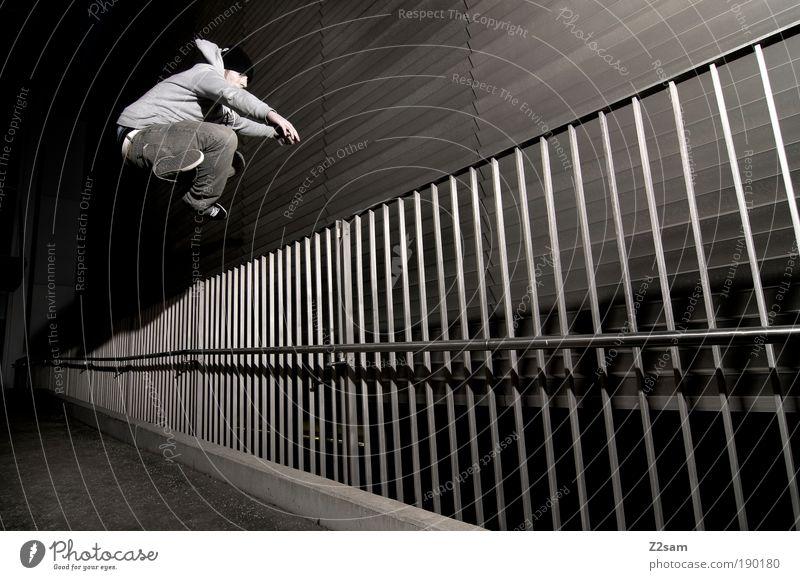 human room installation II Mensch Jugendliche Erwachsene dunkel Bewegung springen Stein Stil Metall Kraft fliegen maskulin ästhetisch verrückt Lifestyle