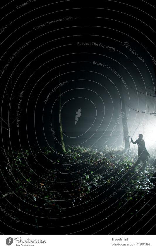 lichtung Mensch Wald dunkel kalt Angst Nebel Energie Belichtung Langzeitbelichtung Gegenlicht Kitsch Kontakt geheimnisvoll gruselig Nacht entdecken