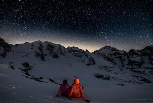 Mit Dir Sterne schauen... Mensch Ferien & Urlaub & Reisen Winter Berge u. Gebirge Umwelt Leben Liebe Schnee feminin Glück Paar Zusammensein Freundschaft