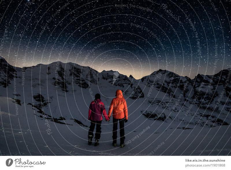 Meine Hand in Deiner.... Ferien & Urlaub & Reisen Winter Winterurlaub Sportler wandern Skier maskulin feminin Paar Partner Leben 2 Mensch Umwelt Nachthimmel