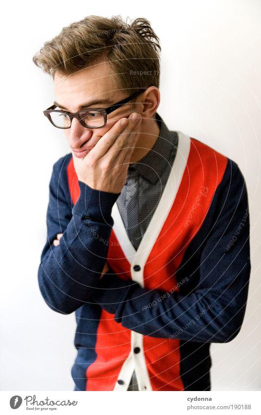 ... tja also ... Mensch Denken Mann Jugendliche Gefühle Erwachsene Leben Stil elegant Design Erfolg Studium planen Lifestyle 18-30 Jahre Brille