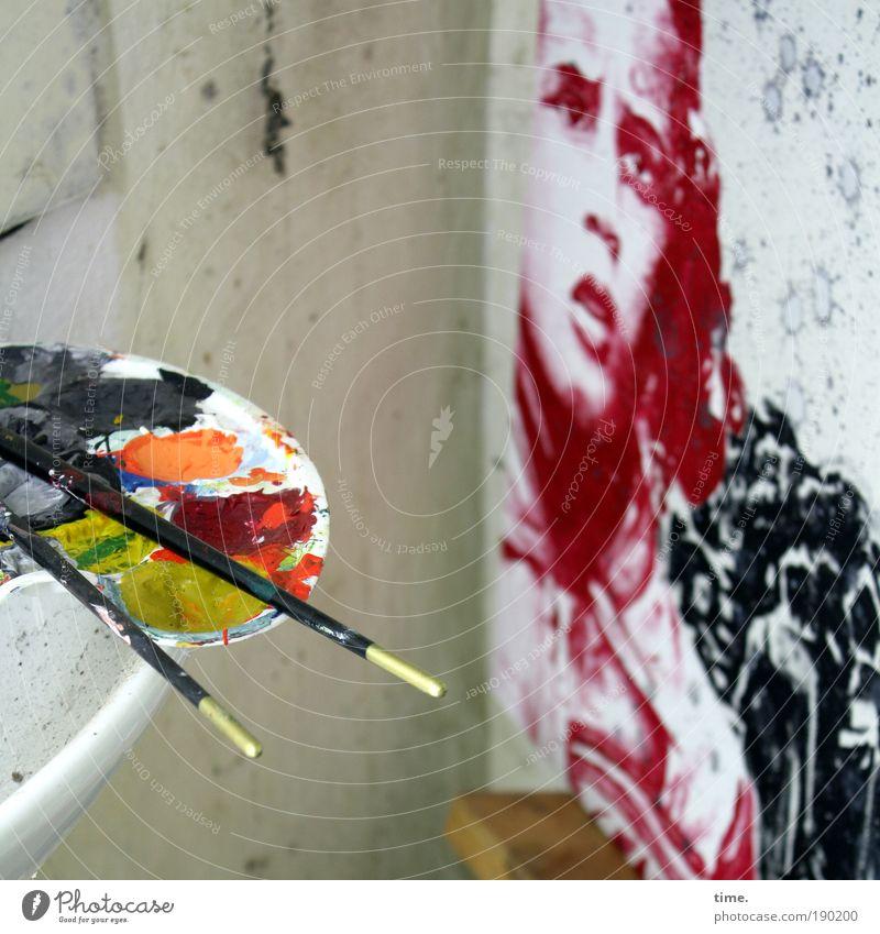 Frightened Looking At Zerplatzende Luftschlösser Mensch Himmel weiß rot schwarz grau Kopf Farbstoff Kunst Kultur Gemälde viele Comic Pinsel Textilien