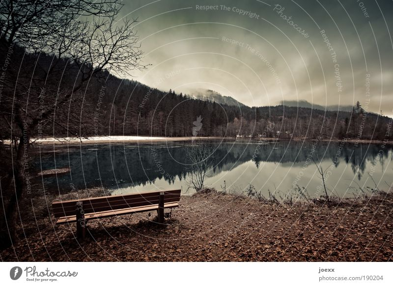 Rückzug II Natur Landschaft Wasser Himmel Wolken Herbst Winter Wetter Schnee Baum Sträucher Wald Berge u. Gebirge Teich See bedrohlich dunkel braun Stimmung